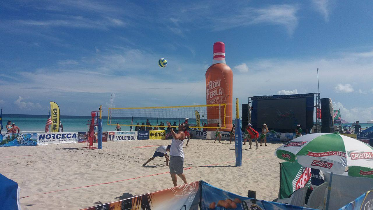 Sponsored by Cuba Ron. NORCECA Beach Volleyball: 23 couples in Varadero